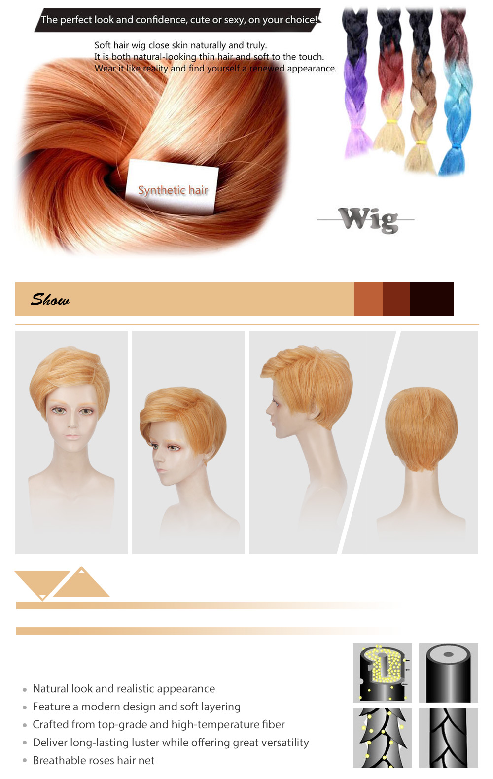 Men Short Natural Straight Blonde Cosplay Wigs Toupee