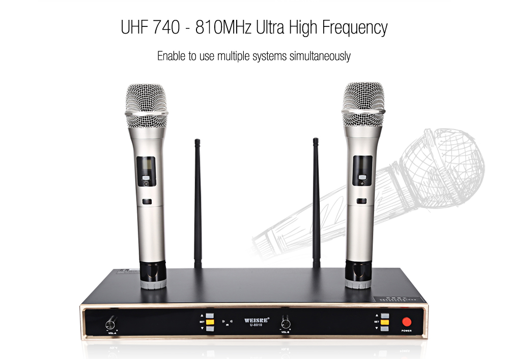 WEISRE U - 8010 Professional UHF Wireless Microphone Set with Receiver