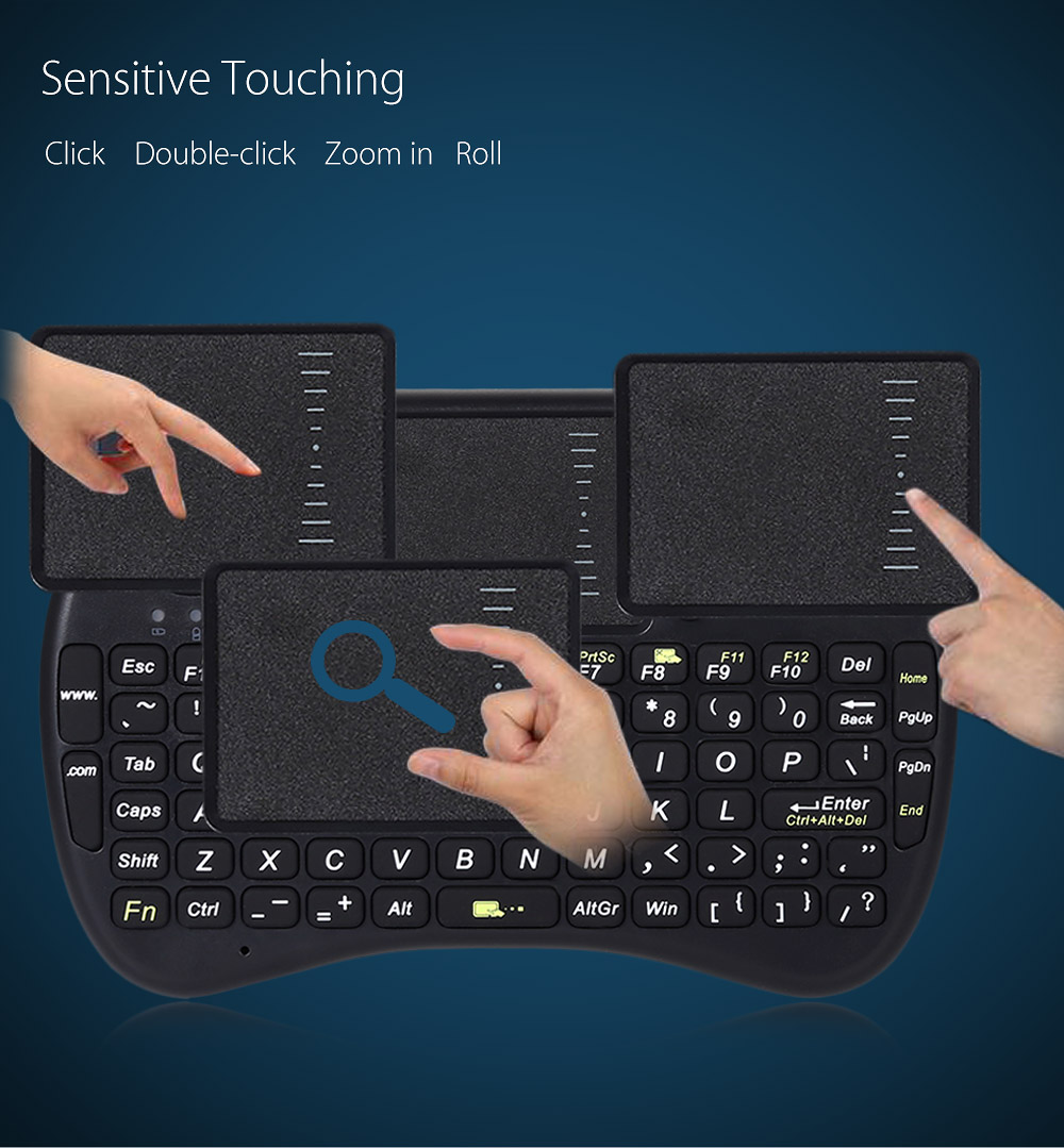 Backlight Mini Keyboard Handheld Touchpad Mouse English Version with 92 Keys