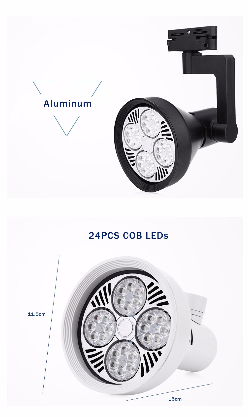 AC 110 - 240V 30W 2700LM COB LED Spotlight Track Lamp Clothing Store Ceiling Wall Light