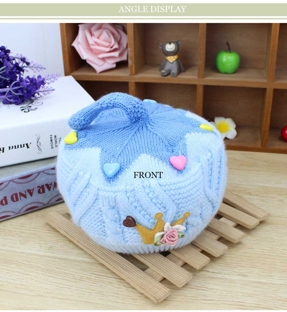 Autumn Winter Cute Color Block Floral Print Soft Knitted Hat for Baby Girls