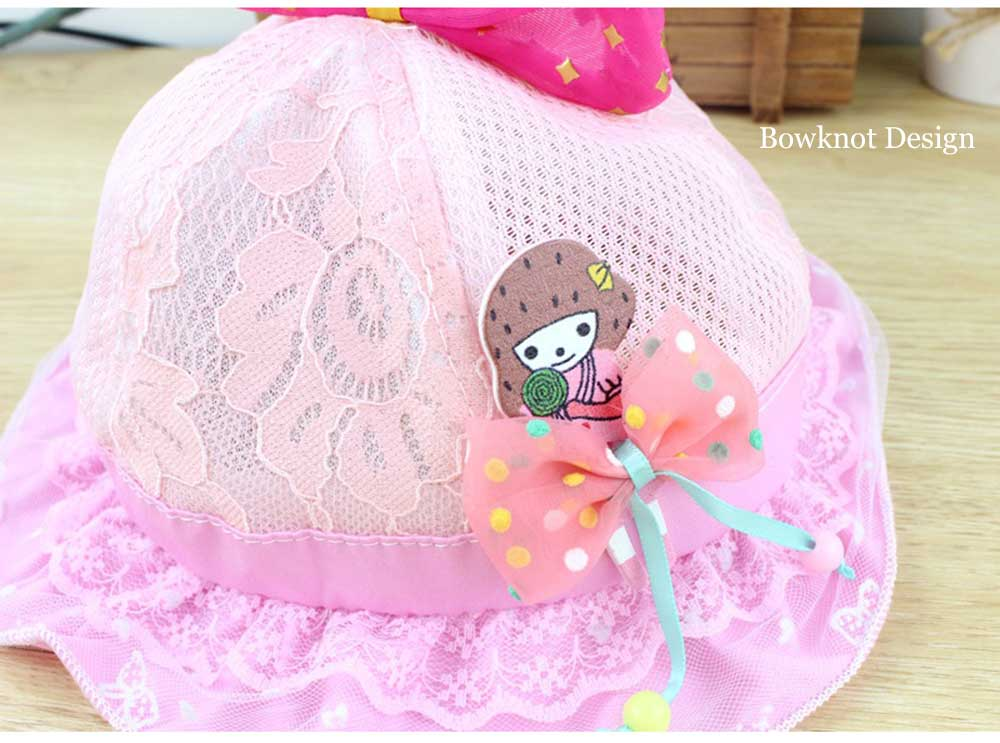 Sweet Bowknot Design Lace Decoration Hat for Baby Girls