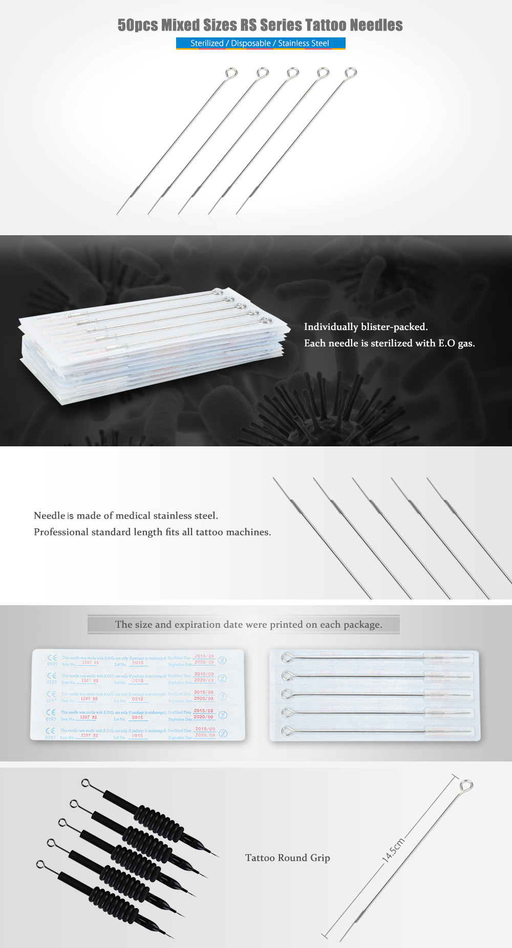 50pcs Stainless Steel Mixed Sizes RS Series Disposable Tattoo Needles for Round Grip