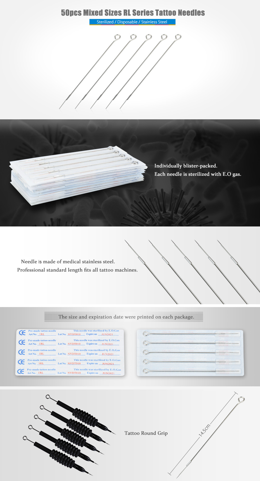 50pcs Stainless Steel Mixed Sizes RL Series Disposable Tattoo Needles for Round Grip