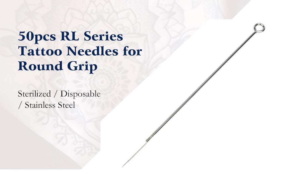 50pcs Stainless Steel RL Series Sterilized Disposable Tattoo Needles for Round Grip