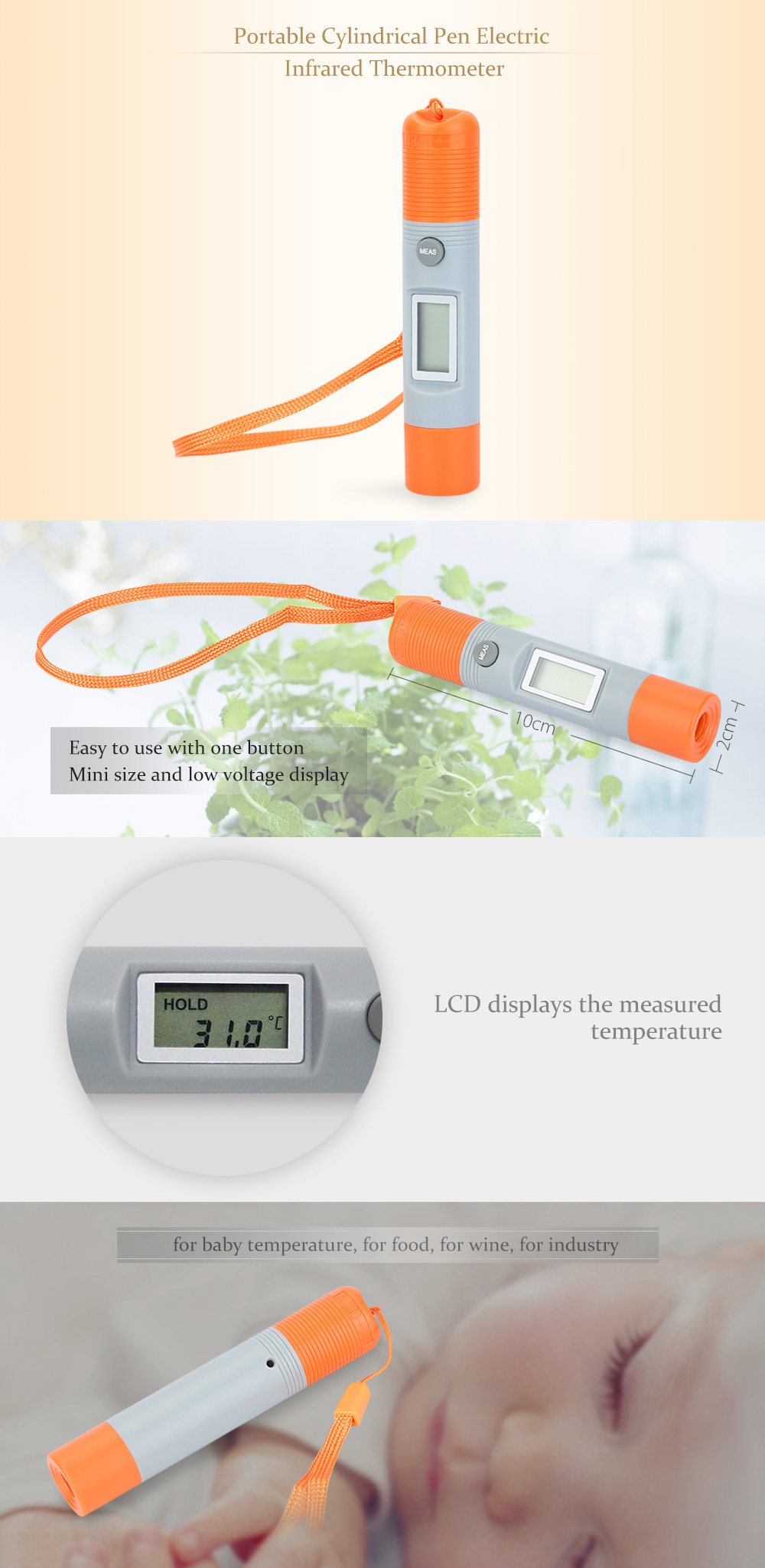 Portable Cylindrical Pen Electric Infrared Thermometer