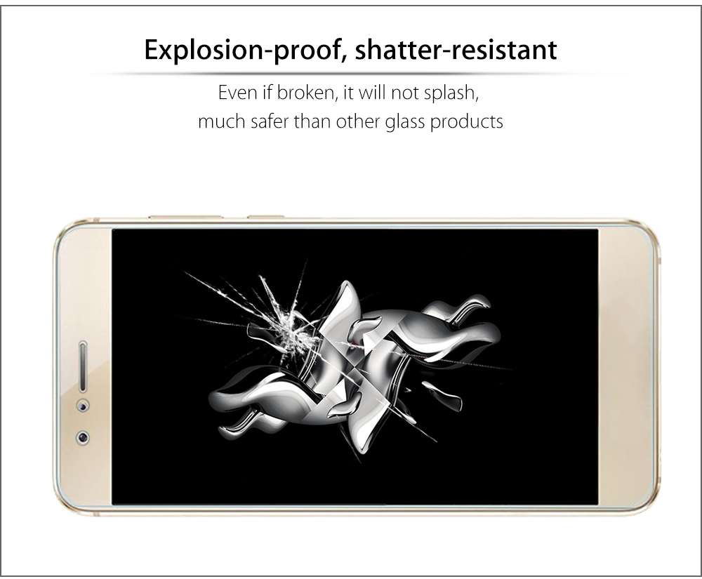 2.5D 9H Tempered Glass Explosion-proof Curved Edge Transparent Protective Film for HUAWEI P8 0.2mm