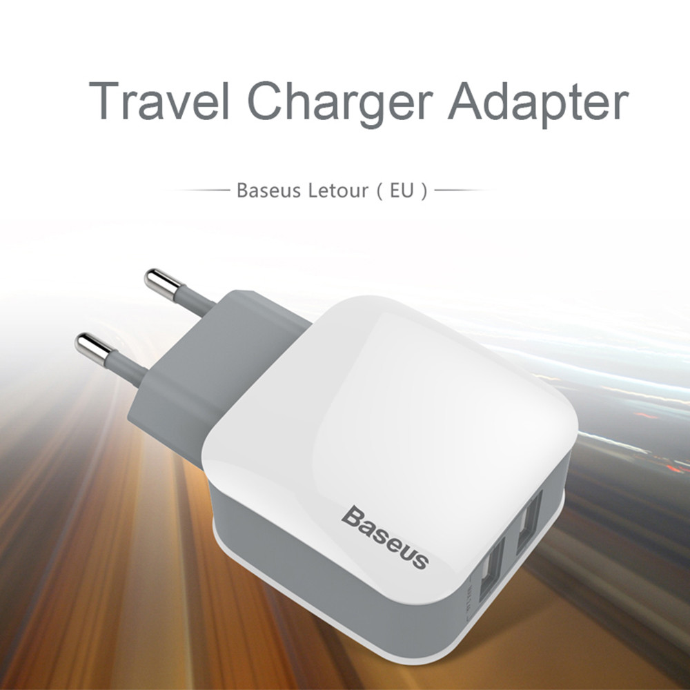 Baseus Letour 2.4A Dual USB Port Multifunctional Travel Charger Adapter
