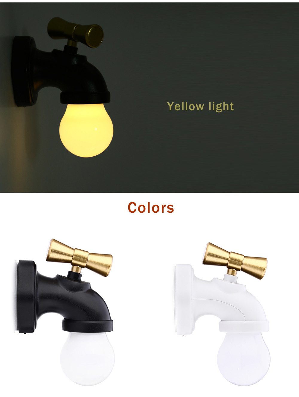 DC 5V USB Rechargeable LED Tap Night Light Faucet Shape Voice-activated Lamp for Kids Nursery Bedroom