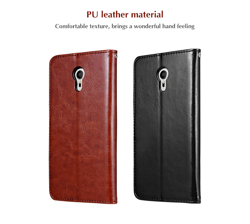 Tomkas Crazy Horse Series PU Leather Cover Case Wallet 2 in 1 with Card Slot for Meizu M3 Note