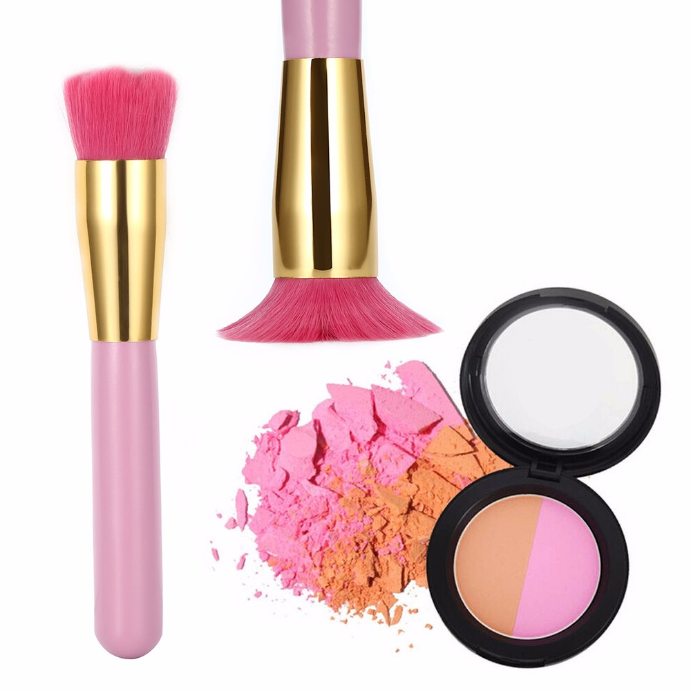 Pink Gold Chic Flower Shape Makeup Blush Face Powder Brush