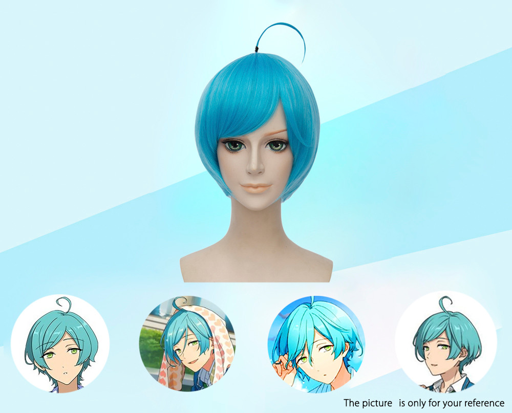 Harajuku Medium Bob Straight Short Cosplay Wigs with Stay Synthetic Hair for Sadness Ensemble Stars Inside Out Figure