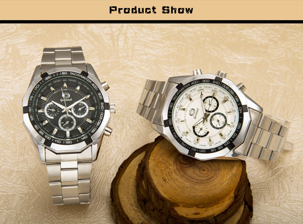 Gucamel B043 Men Quartz Watch Decorative Sub-dial Stainless Steel Band Wristwatch