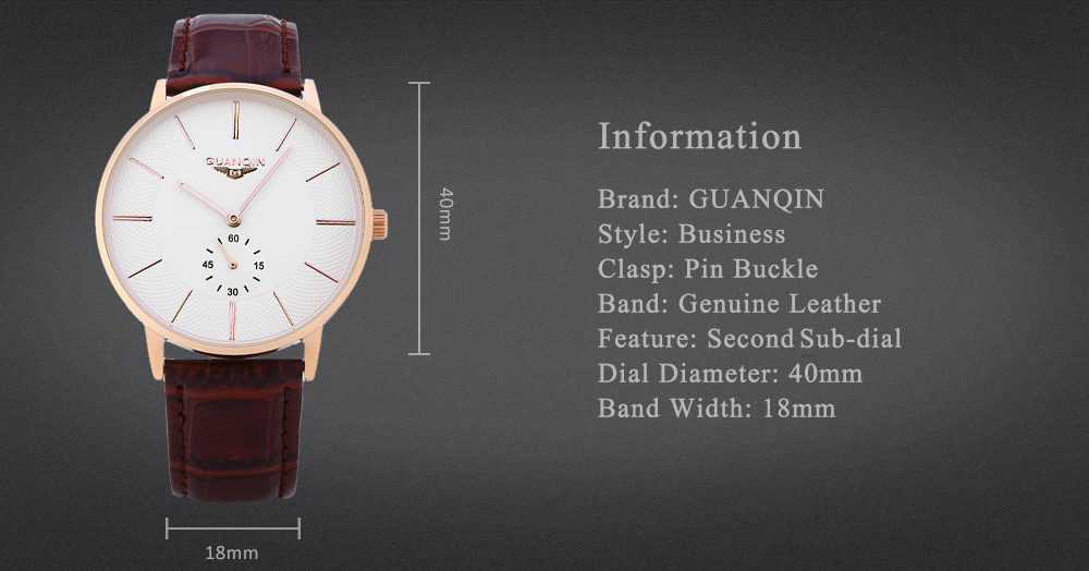 GUANQIN BJ001 Men Quartz Watch 10ATM Working Sub-dial Wristwatch