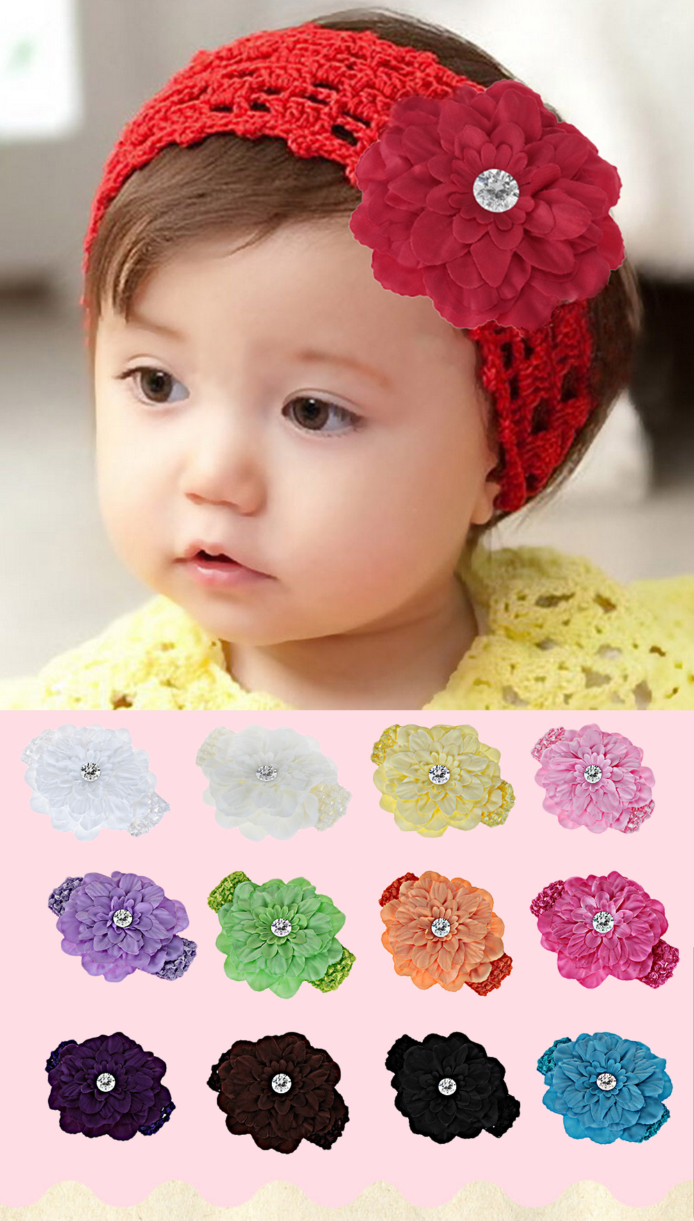 Cute Knitted Flower Zircon Decoration Hairband for Babies