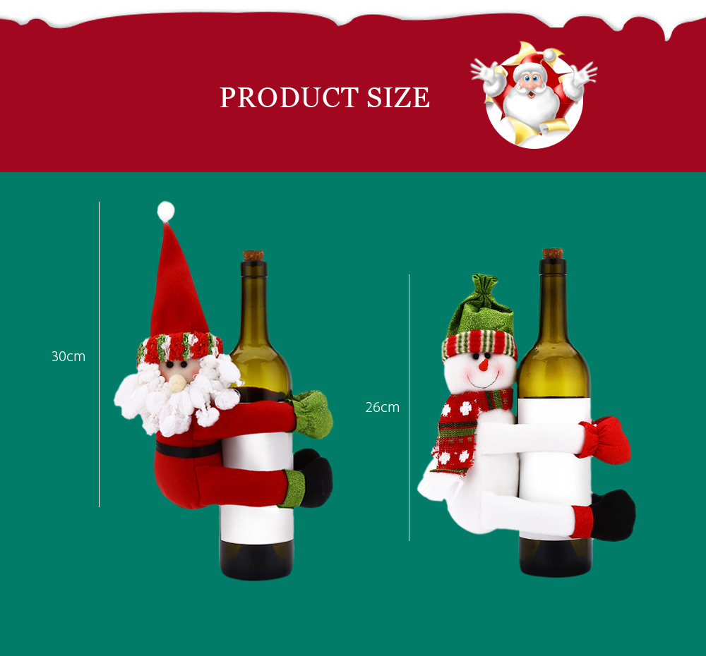 Xmas Wine Bottle Cover Decoration Santa Snowman Hanger