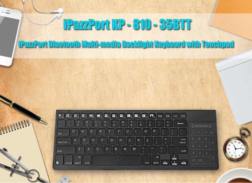 iPazzPort KP - 810 - 35BTT Wireless Bluetooth Backlight Keyboard Touchpad