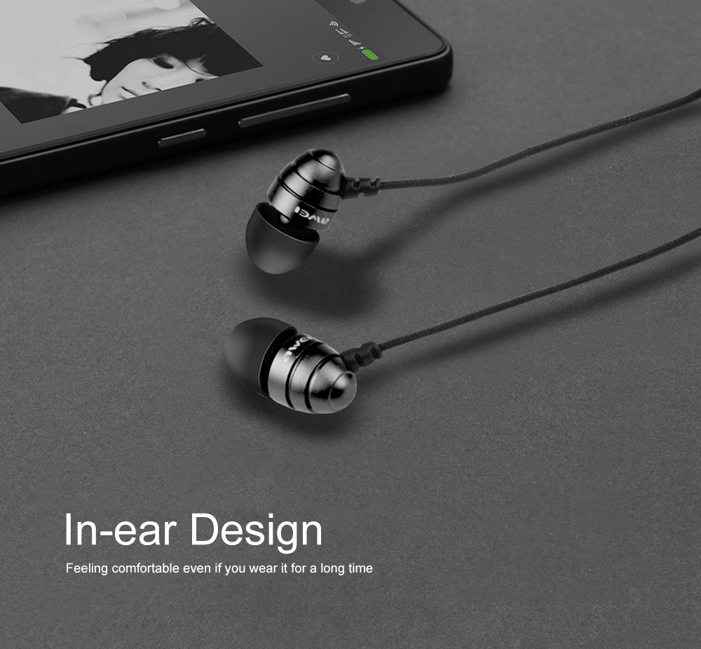 AWEI ES - Q2 3.5MM Plug Stereo Music Earphones Headphones