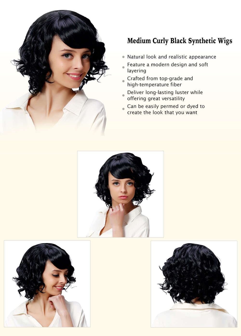 AISIHAIR Women Medium Curly Black Synthetic Wigs with Side Bangs