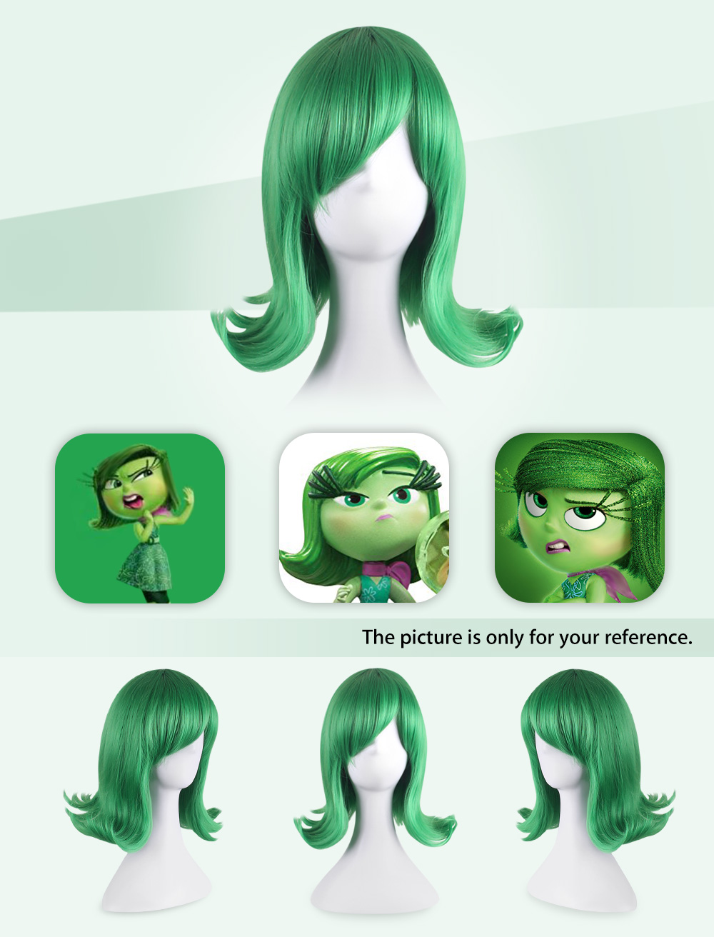 Medium Side Bangs Green Anti-alice Wigs Cosplay for Inside Out Yanyan Figure