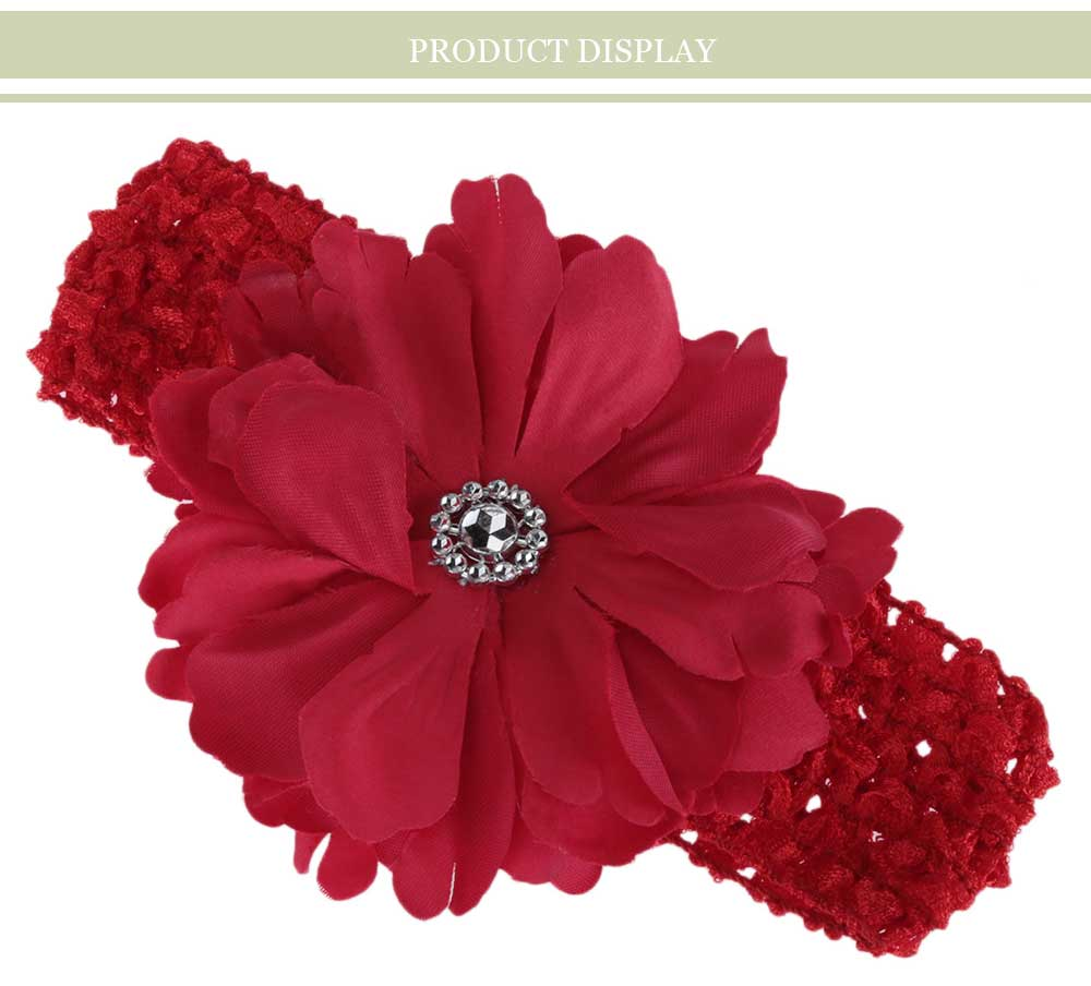 Fashionable Peony Rhinestone Design Hair Accessories Oversize Hair Band for Girls