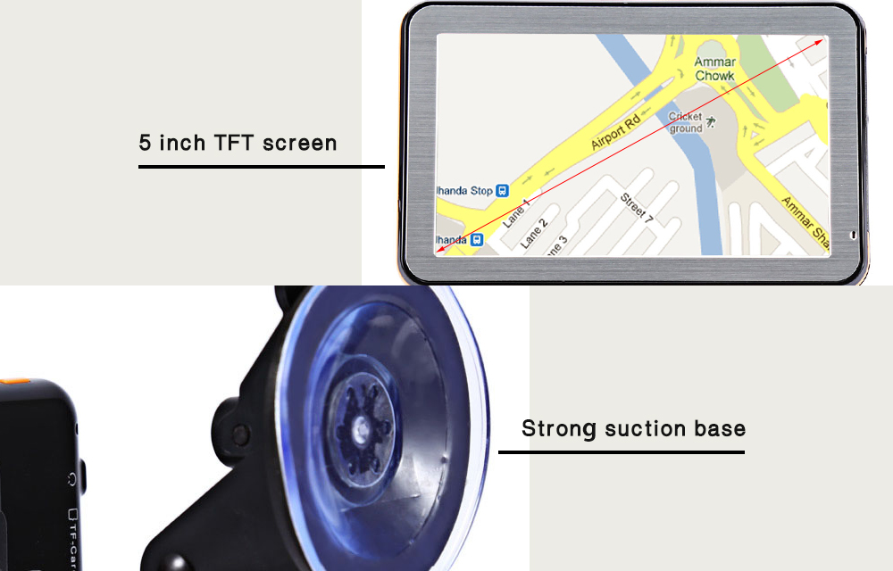 5 inch Vehicle GPS Navigation TFT LCD Touch Screen Voice Guidance Multifunction Maps