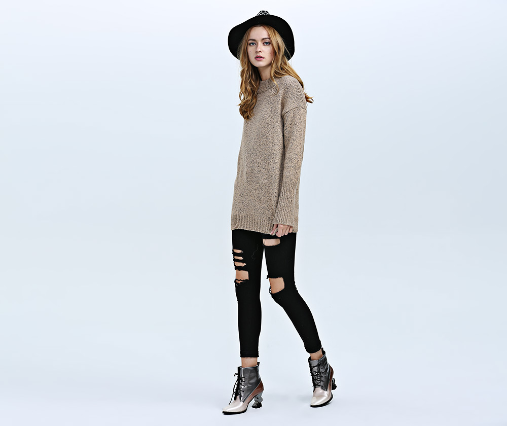 Fashion Round Collar Long Sleeve Knitted Pure Color Women Sweater