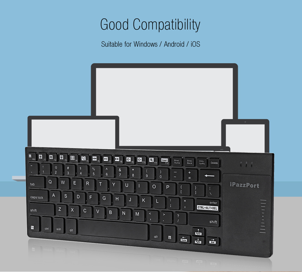 iPazzPort KP - 810 - 35H 2.4GHz Wireless Multi-media Keyboard with Backlight Touchpad