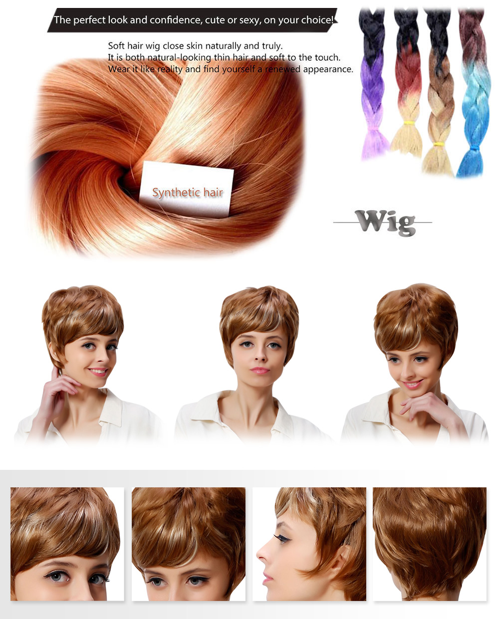 AISIHAIR Women Trendy Mixed Colors Blonde Short Fluffy Side Bang Synthetic Hair Wigs