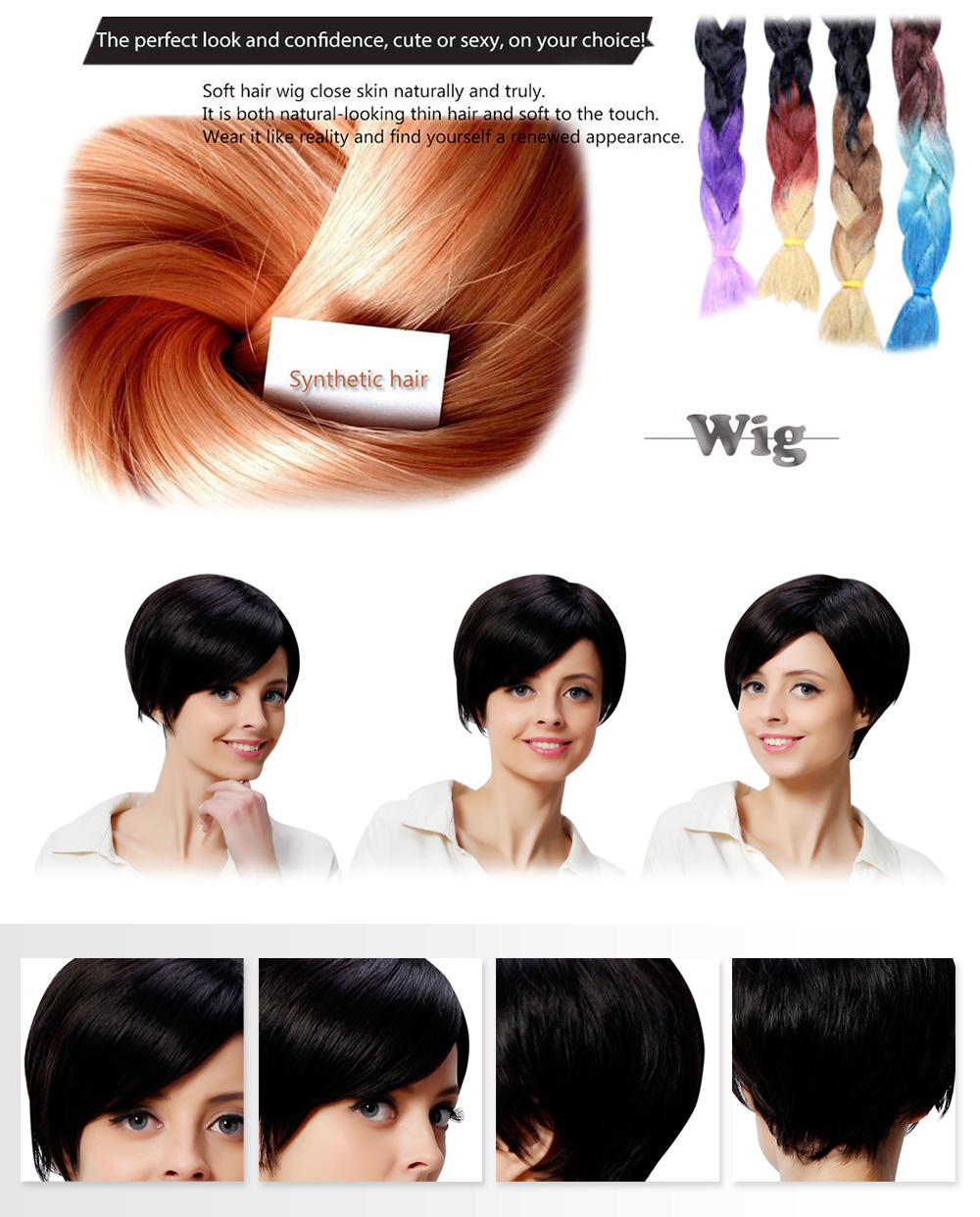 AISIHAIR Stylish Short Shaggy Side Bang Synthetic Black Hair Wigs for Women