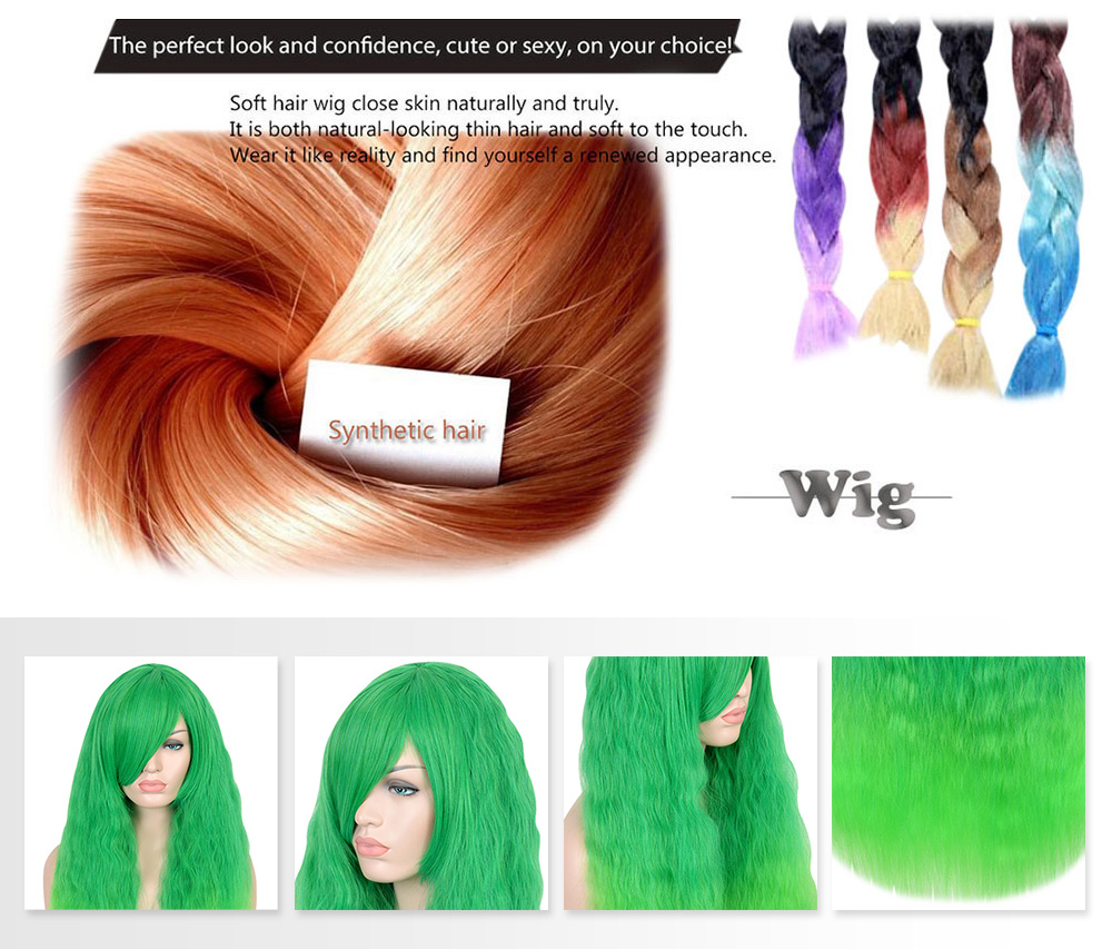 Harajuku Long Fluffy Corn Curly Shaggy Perm Side Bang Wigs Gradient Green Color