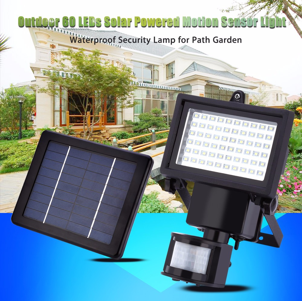 Outdoor 60 LEDs Solar Powered Motion Sensor Light Waterproof Security Lamp