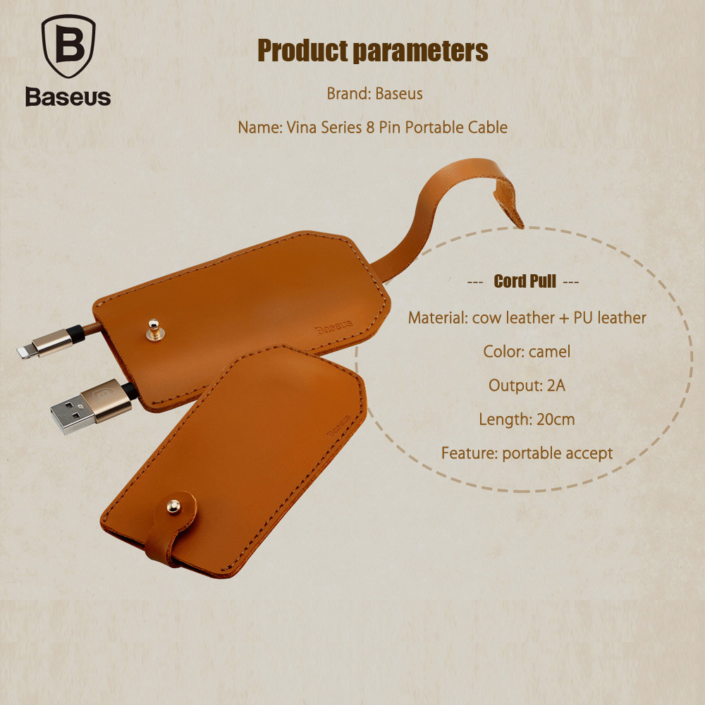 Baseus Vina Series Portable 8 Pin Charge Data Transfer Cable ( Cord Pull)20cm