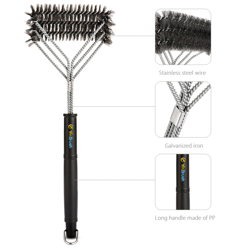 YmBrush G226 3-in-1 Barbecue Grill Brush Bristles Stainless Steel Woven Wire for Outdoor Cooking