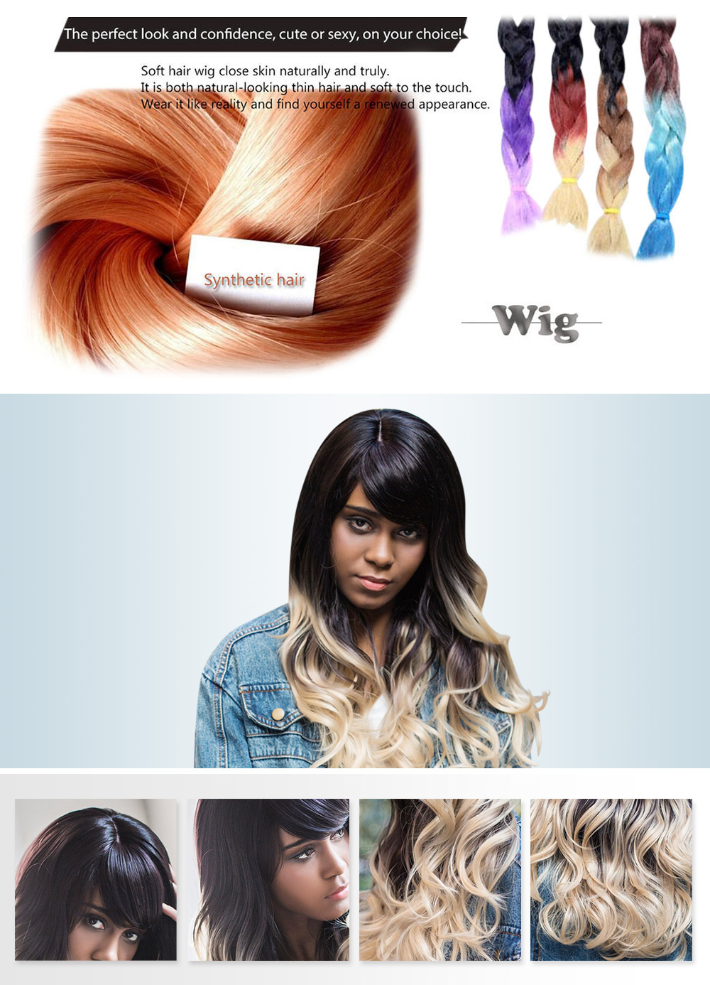 AISIHAIR Long Shaggy Side Bangs Mixed Colors Wavy Synthetic Wig for Women