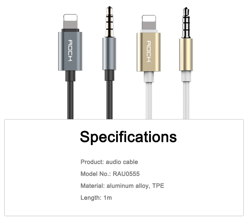 ROCK 8 Pin to 3.5mm Stereo Audio Headphone Cable for iPhone 7 / 7 Plus 1m