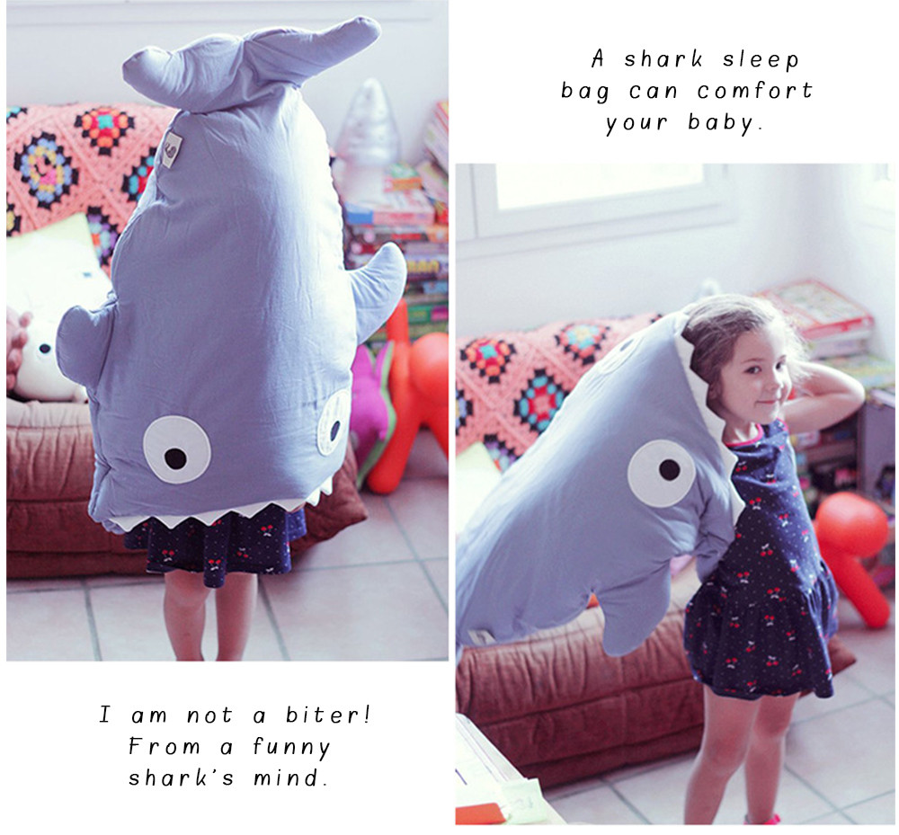 Cute Cartoon Shark Babies Sleep Bag Thick Winter Infant Blanket Warm Swaddle