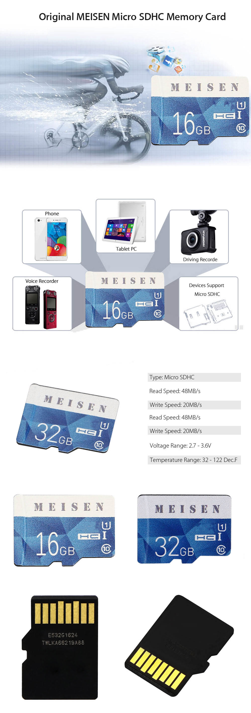 Original MEISEN 32GB Micro SDHC Memory Card Storage Device