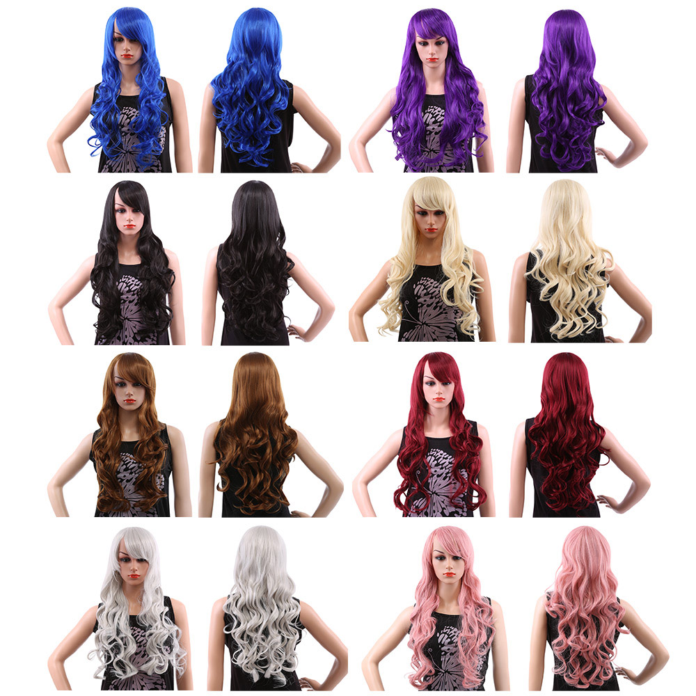 Women 80CM Long Wavy Synthetic Wigs with Bangs Colors Hair
