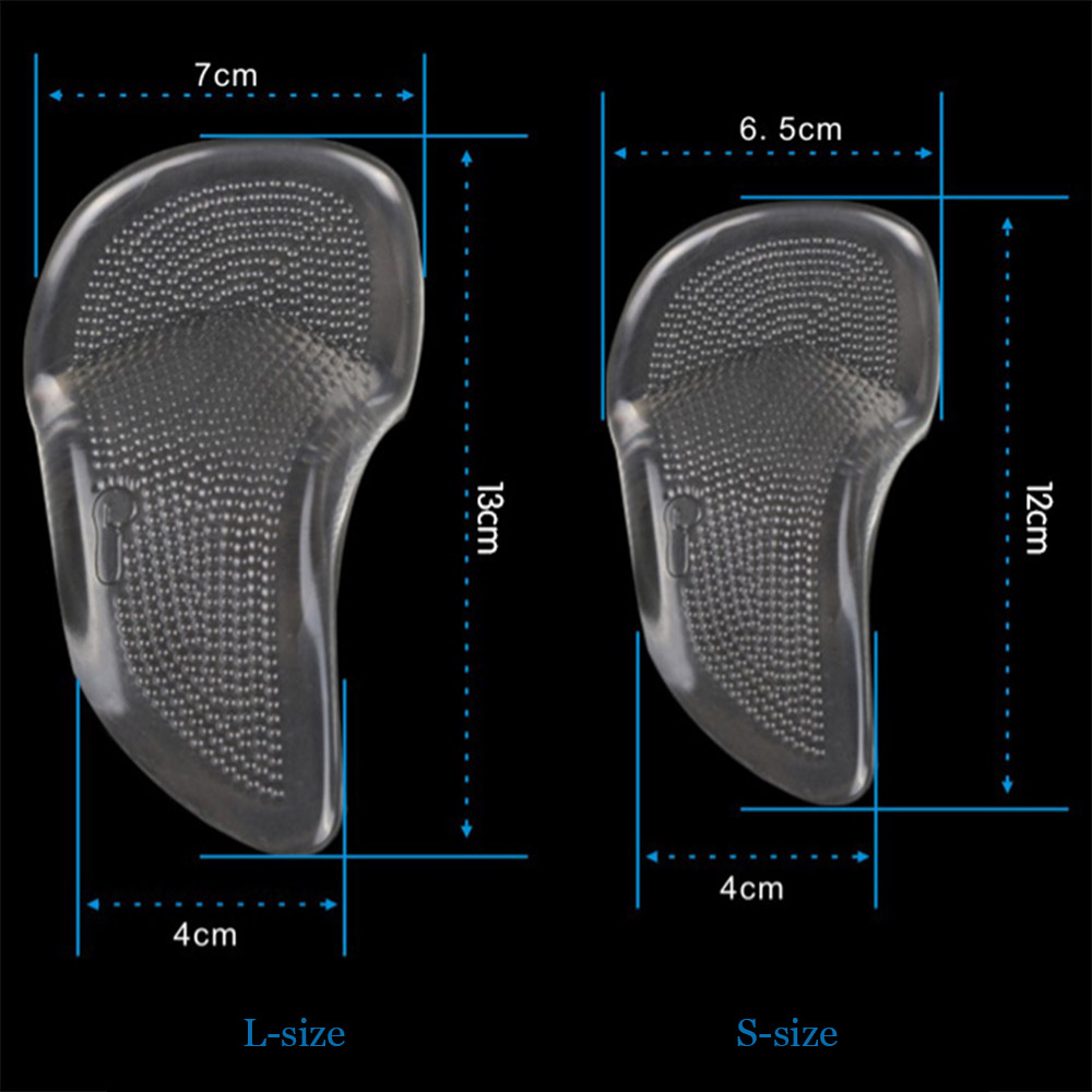 1 Pair L-size Soft Silicone Flat Foot Correction Insoles Adult Orthopedic Arch Support High Heels Pad
