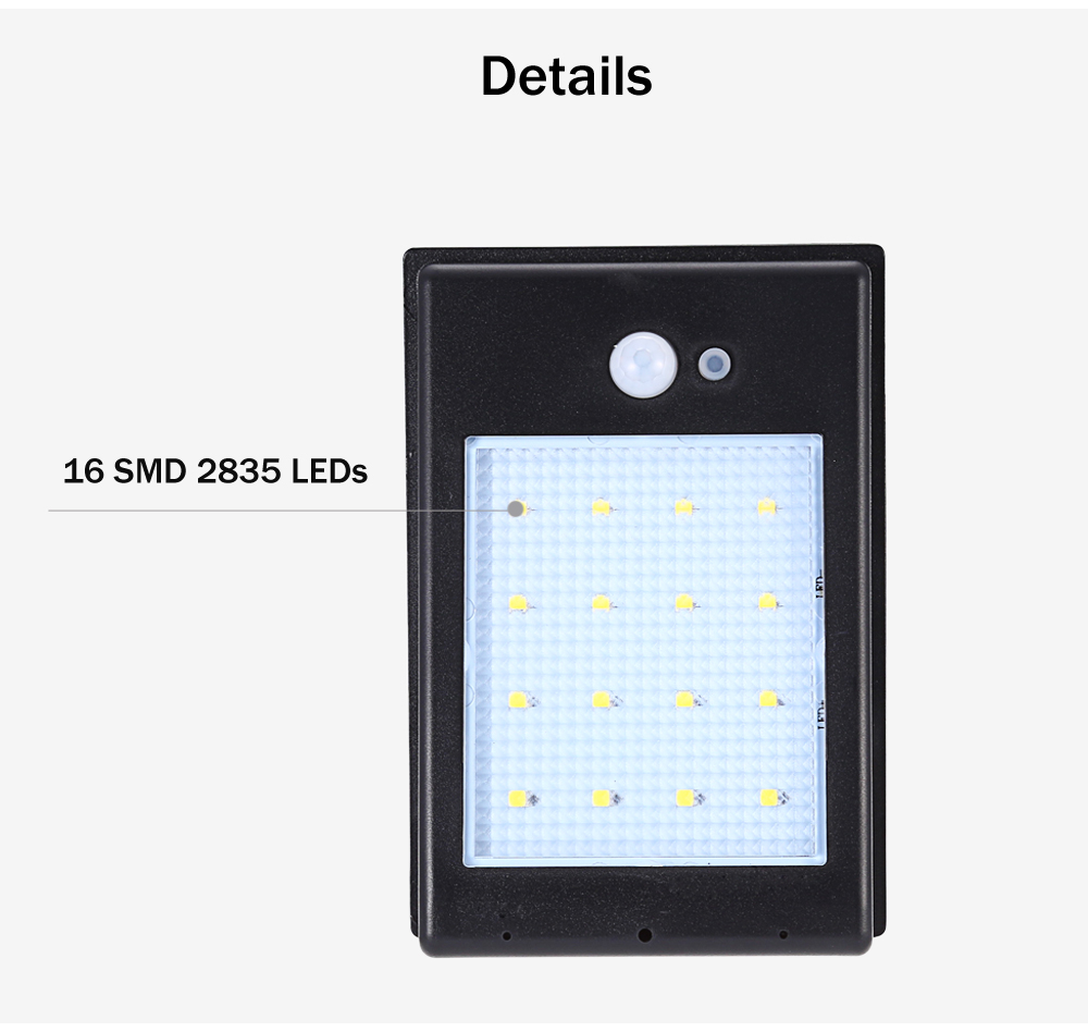 Outdoor 16 LEDs Solar Powered Motion Sensor Light Waterproof Wall Lamp for Path Garden
