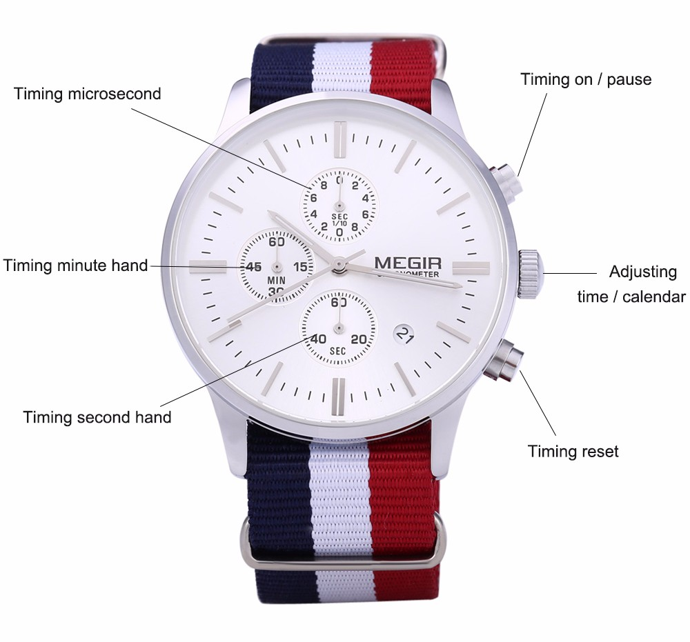 MEGIR M2011 Male Quartz Watch with Three Working Sub-dials Date Function Sport Wristwatch