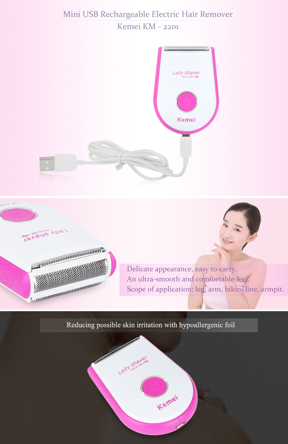 Kemei KM - 2201 Mini Rechargeable USB Electric Skin-friendly Hair Remover Shaver