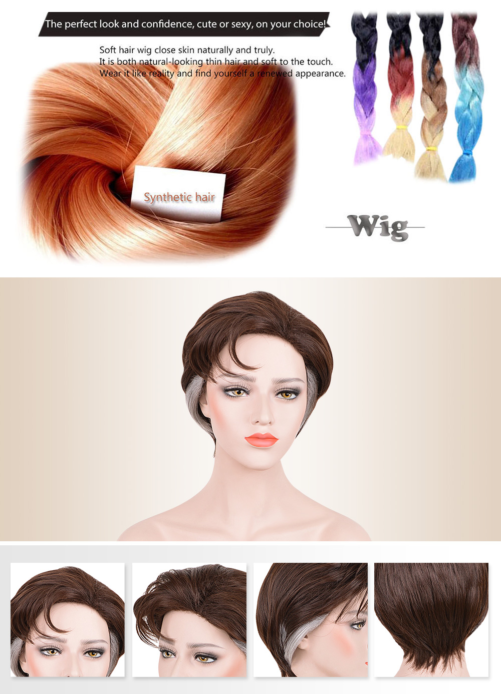 Layered Short Fluffy Natural Straight Synthetic Wigs Mixed Colors Cosplay Party