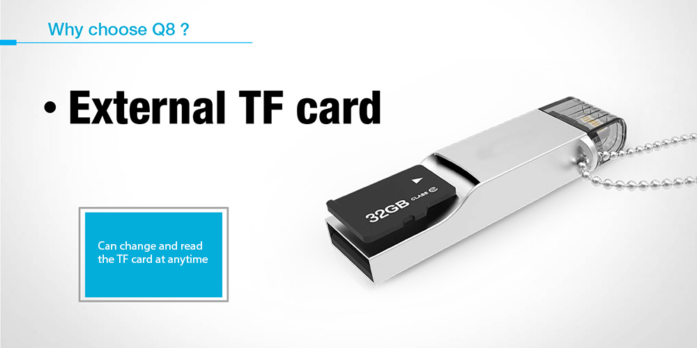 Q8 TF Card Reader External Storage Memory Expansion with Lightning Connector