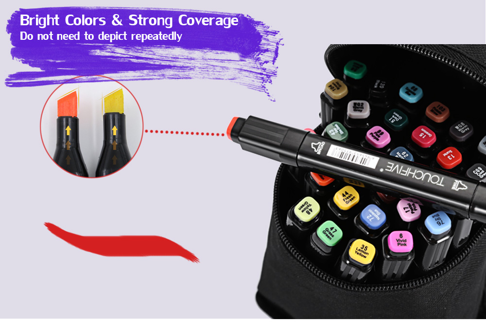 TouchFive 30 Colors Twin Tip Fine Broad Point Pen Marker for Fashion Designing