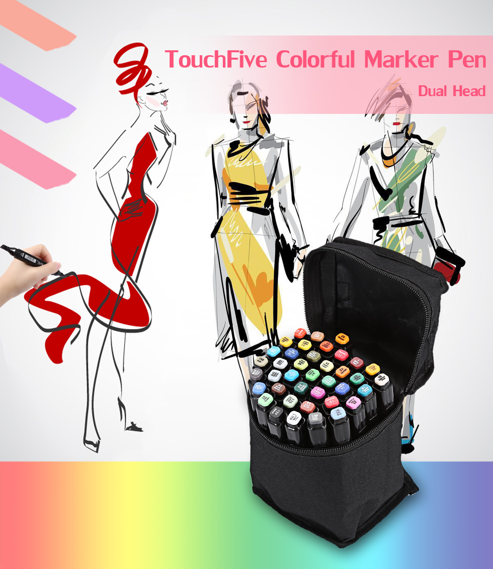 TouchFive 40 Colors Twin Tip Fine Broad Point Pen Marker for Fashion Designing