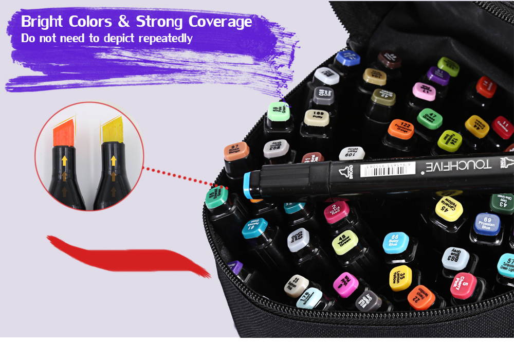 TouchFive 60 Colors Twin Tip Fine Broad Point Pen Marker for Fashion Designing