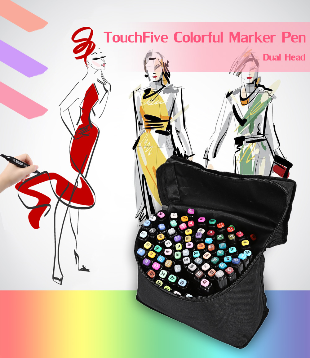 TouchFive 80 Colors Twin Tip Fine Broad Point Pen Marker for Fashion Designing
