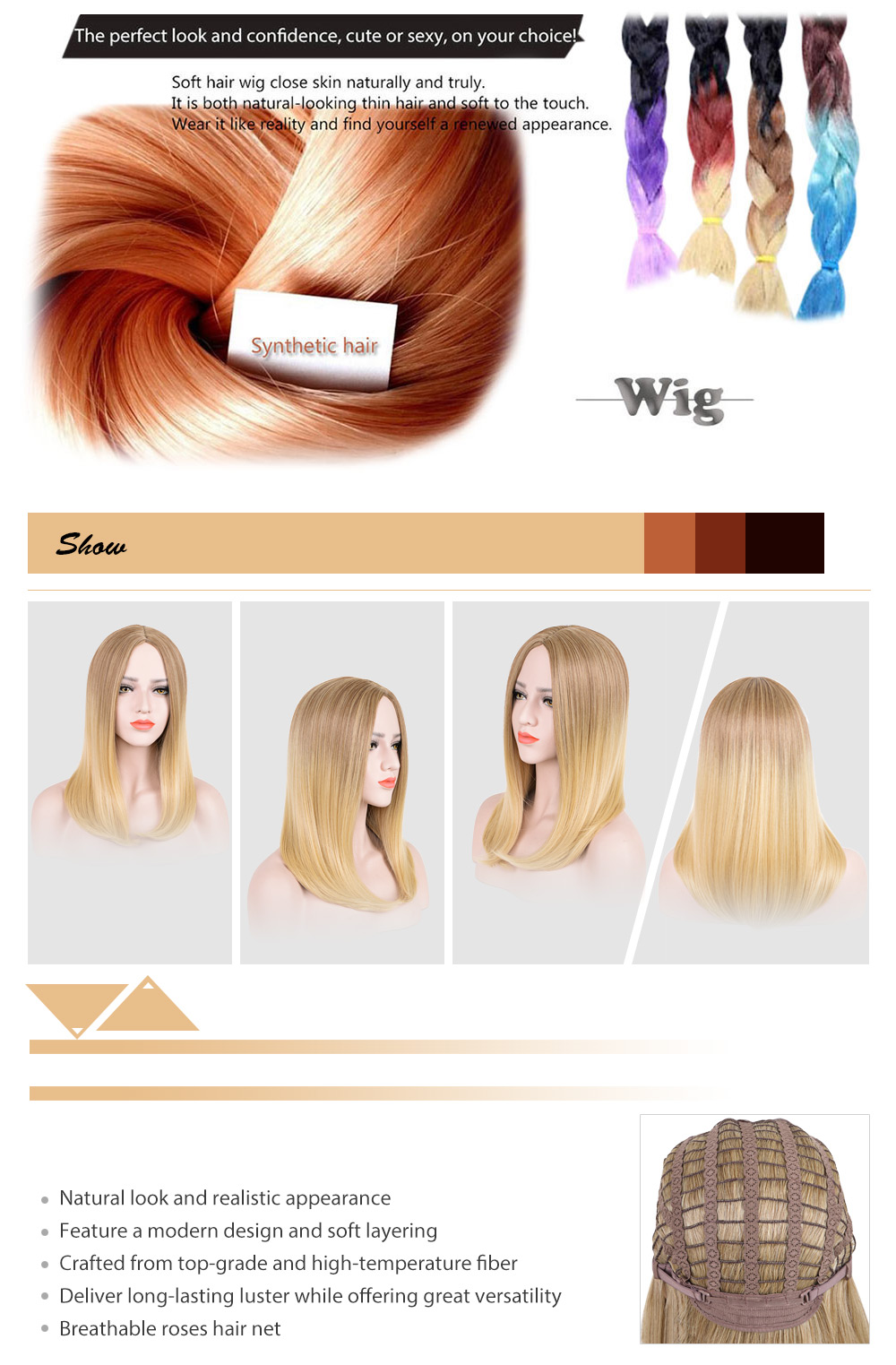 Women Medium Centre Parting Blonde Synthetic Hair Wigs